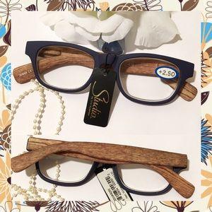 Retro Style Wayfarer Faux Woody Reading Glasses